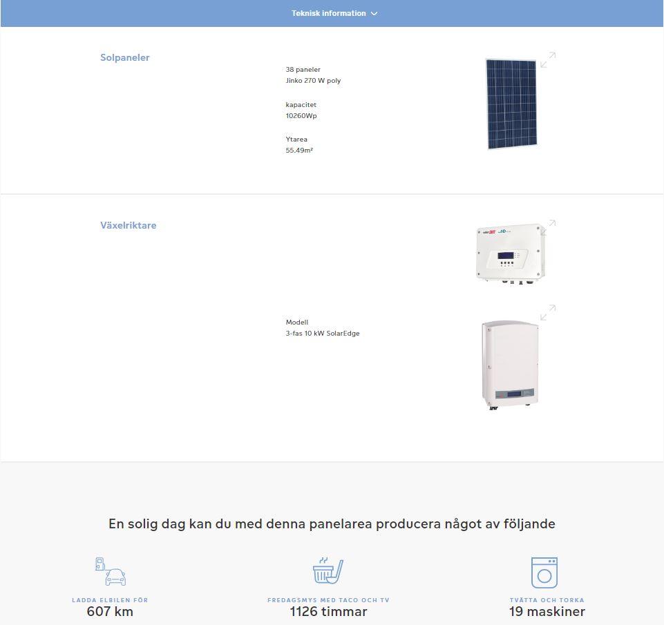 Fortums solkalkylator visar vilka komponenter såsom solceller och växelriktare som har använts i beräkningen av resultatet.
